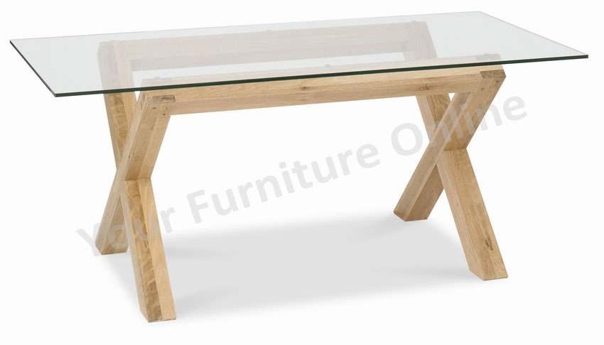 Lyon washed oak glass top dining table - Glass topped dining table ...